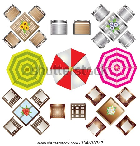Outdoor Furniture Top View Set 2 For Landscape Design , Vector Illustration
