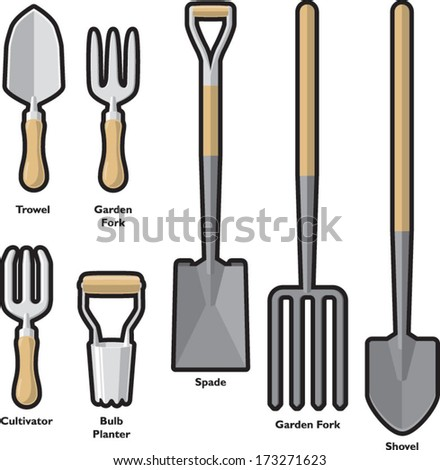 Outdoor gardening tools set 1 stock vector for Common garden hand tools