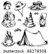 Outdoor theme drawings collection - vector illustration. - stock photo