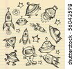 Outer Space Doodle Sketch notebook Elements Vector Illustration Set - stock vector