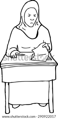 student desk clipart black and white. outline cartoon of angry muslim student at desk clipart black and white