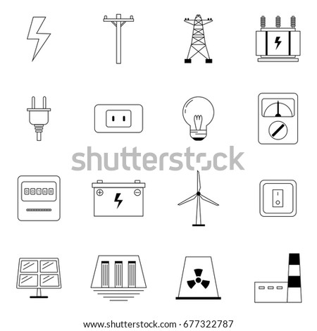 Electricity Icons Duo Tone Colors 128385932