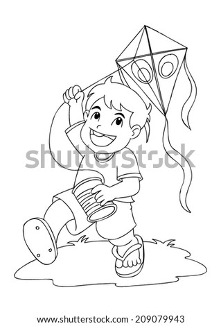 outline illustration boy playing kite stock vector 209079943 shutterstock. Black Bedroom Furniture Sets. Home Design Ideas