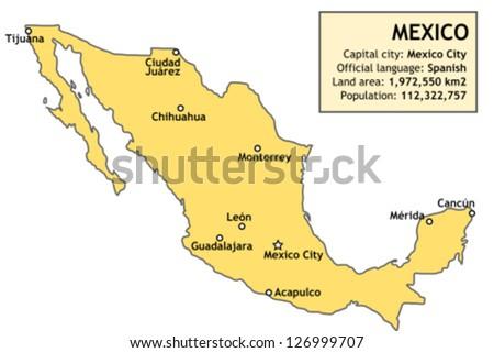Mexico Map Major Mexican Cities Mexico Stock Vector - Peru major cities map