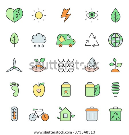Outline multicolored eco icons vector set. Modern minimalistic style.