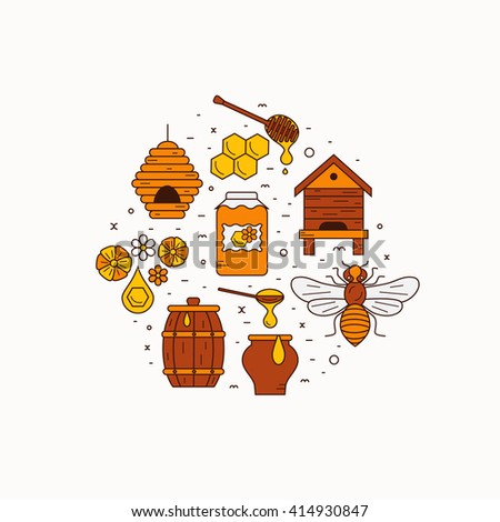 Outline Style Beekeeping Product Vector Concept Illustration With Elements Bee Honey House