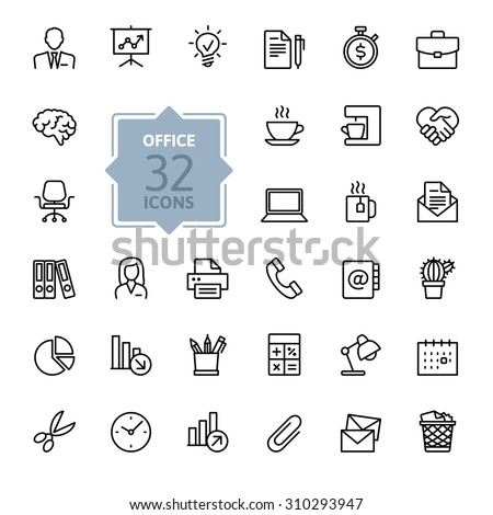 Outline web icon set - Office supplies.