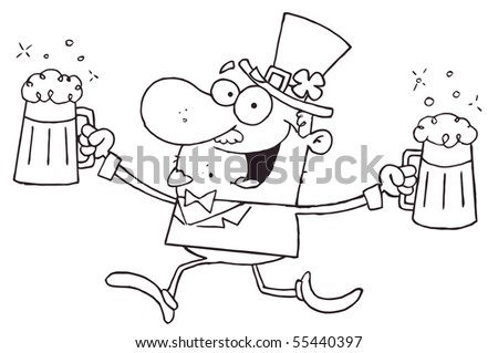 Outlined Male Leprechaun Running With Beers