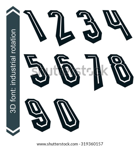 Outlined rotated vector numeration, monochrome bold lined numbers set.