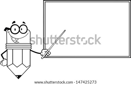 Outlined Smiling Pencil Teacher Character With A Pointer In Front Of Chalkboard