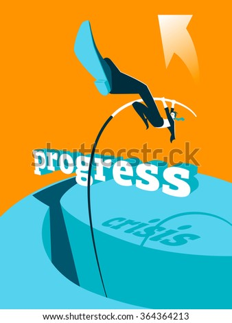 Overcoming the crisis. Progress. Pole vault. Vector illustration