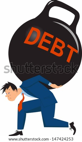 Overwhelming debt. Sad man carrying a big load of debt in a form of ...