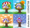 owl mother love children in four seasons - stock vector