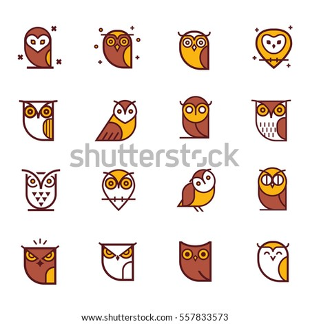 owl color vector illustration collection set stock vector