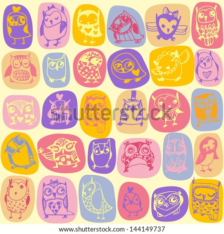 Owl seamless pattern on light background. Hand drawn vector illustration.
