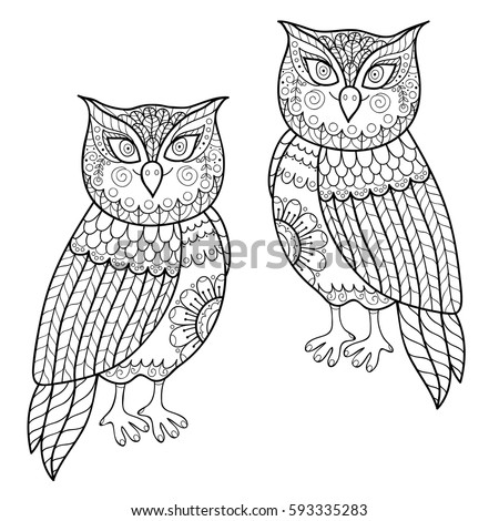 retro owl coloring pages | Owl Vector Illustration Vintage Hand Drawn Stock Vector ...