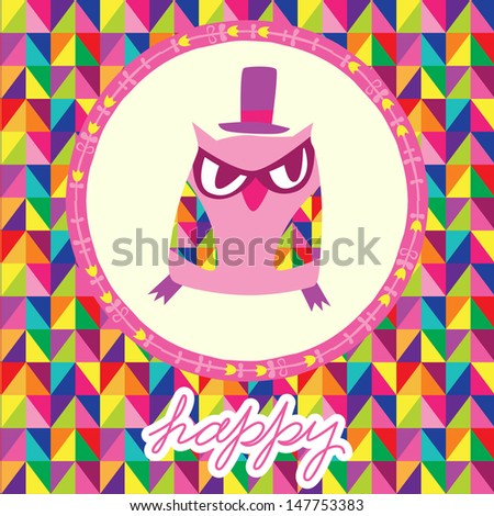 Stock Vector Owls Greeting Card And Triangles Seamless Background Hand Drawn Vector Illustration Template For