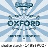 oxford united kingdom greeting sign art - stock vector