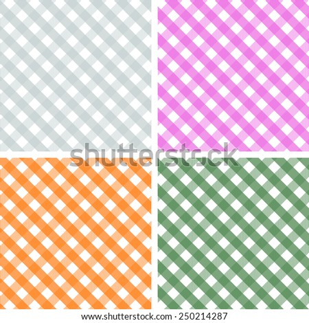 Pack of 4 Seamless Gingham Patterns, Grey, Pink, Orange, Forest Green