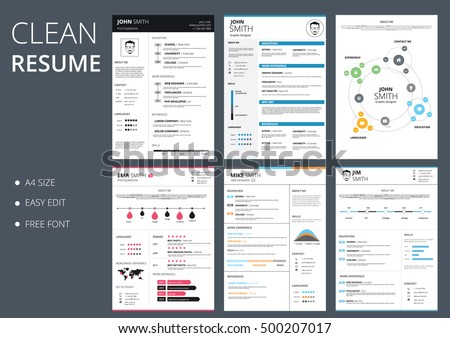 Pack of six resume and cv vector template job applications.