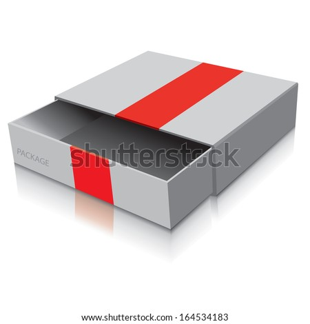 Package white box design with red ribbon, vector illustration