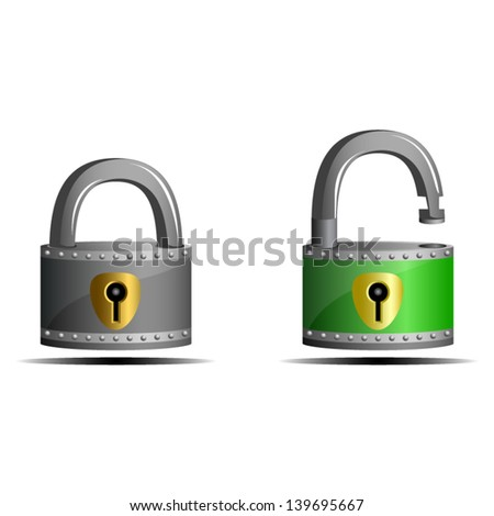 Padlocks, gray locked and green unlocked - icon isolated on white background. Vector