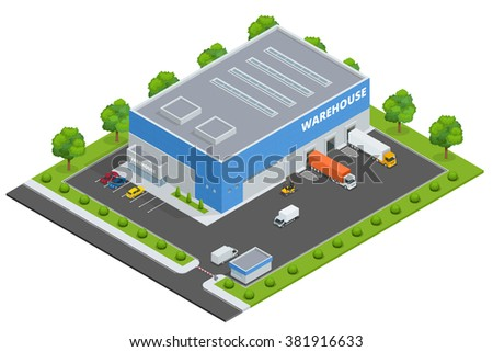 Page web design template. Set of flat vector web banners on the theme of Logistics, Warehouse, Freight, Cargo Transportation. Storage of goods.  Vector 3d isometric illustration
