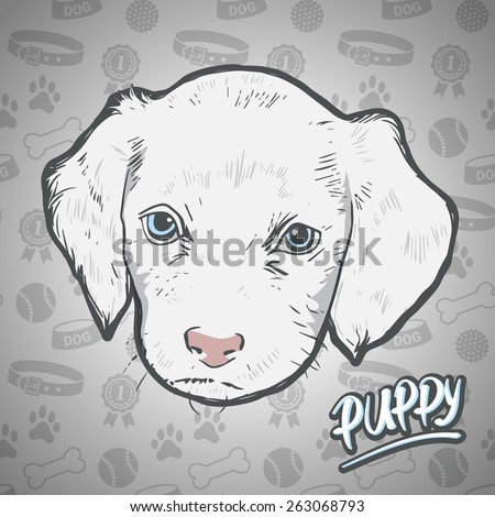 Painted head puppy on seamless background dog staff