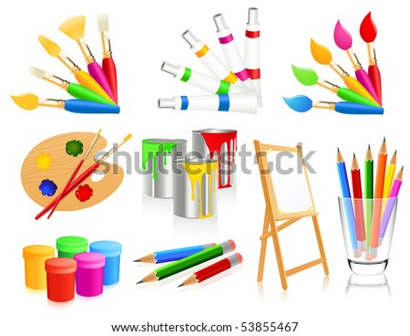 Painting icons, vector illustration