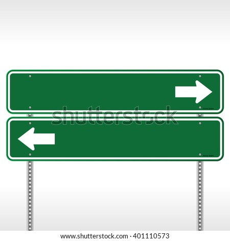 Pair of stacked blank green highway signs with copy space arrows pointing in opposite directions