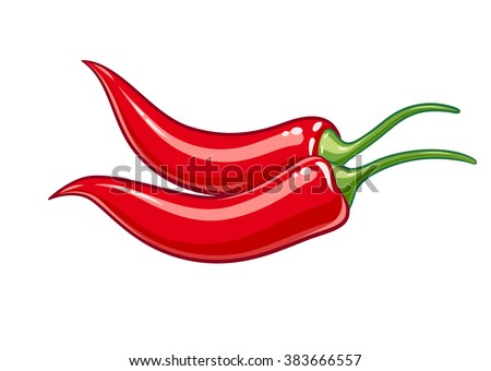 Pair red chile pepper vector illustration. Isolated white background. Transparent objects used for lights and shadows drawing