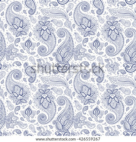 Paisley background. Seamless Hand Drawn vector pattern.
