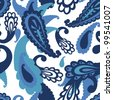 Paisley elements vector seamless pattern in blue tones - stock vector