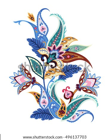 Paisley ethnic decorative flower for print. Floral painting vector illustration.