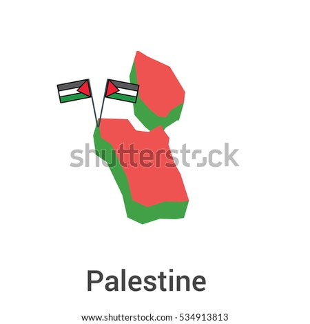 Palestine Flag Map Icon Illustration Vector  Sign Symbol
