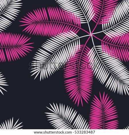 Leaf pattern background retro botanical style stylish flowers print - Seamless Tropical Flower Plant Pattern Background Stock