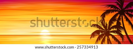 Palm Trees with Sunset, Sunrise and Sea, Ocean. Vector EPS 10.