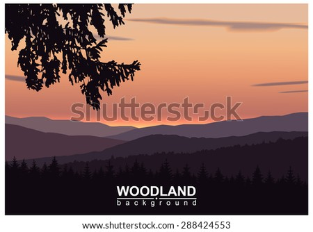 Panorama of mountains. Silhouette of mountains and coniferous trees on the background of colorful sky. Sunset. Eps10.