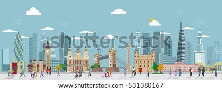 Panoramic of London Skyline and People Walking. City of London one of the leading centrers of global finance.