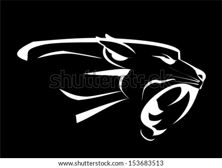 panther head, roaring fang face in the dark - stock vector