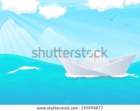 Paper boat floating in the ocean. Abstract Seascape
