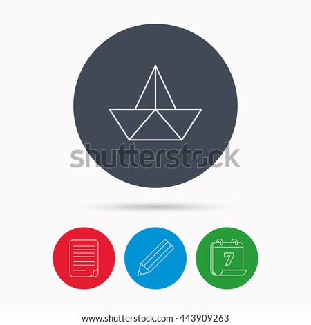 Paper boat icon. Origami ship sign. Sailing symbol. Calendar, pencil or edit and document file signs. Vector