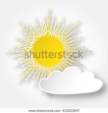 Paper bright shining sun on the sky, isolated over white.
