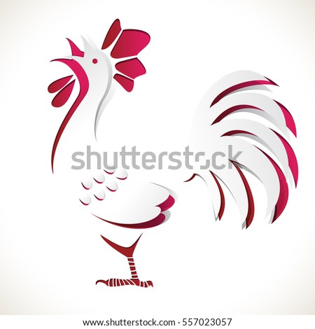 paper chicken cut out from blue background, use for greeting card and design element