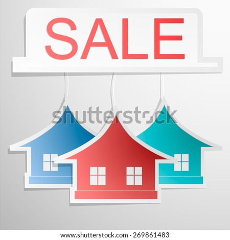 Paper Colrfull Home Design   House Card. Sale Banner. Vector Eps 10