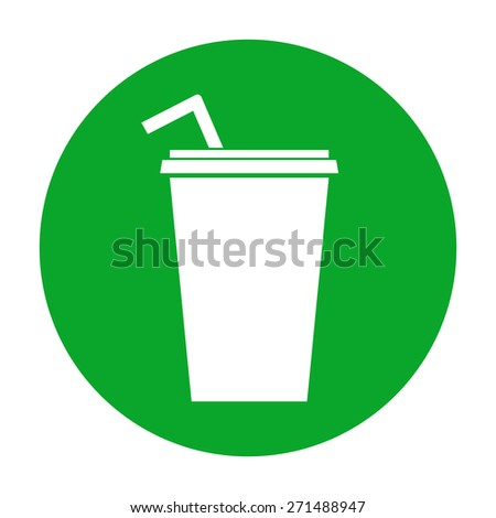 Paper cup with drinking straw icon.