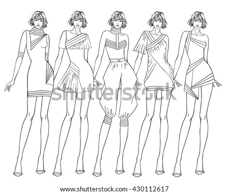 Paper doll young girl and clothes for her. Coloring Page
