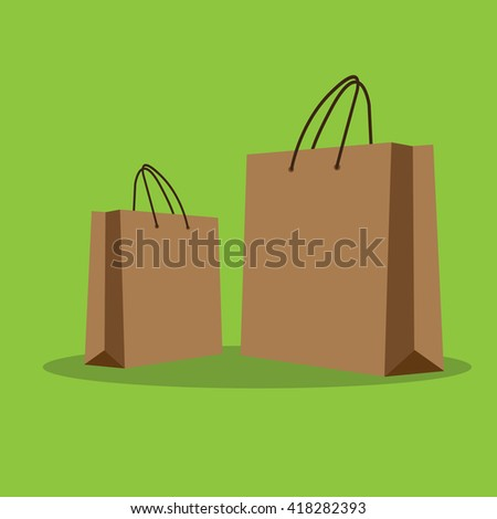 Paper Empty Shopping bag. Vector icon.