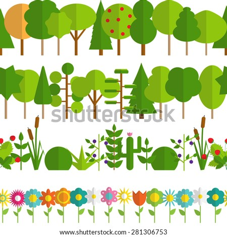 Paper Trendy Flat Trees and Flowers Seamless Pattern Vector Illustration EPS10