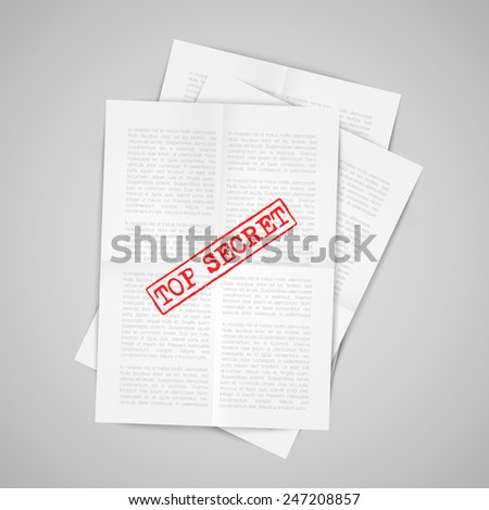 Papers with warning sign, vector